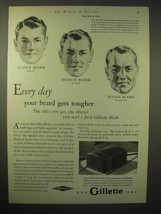 1929 Gillette Razor Ad - Every Day Beard Gets Tougher - $14.99