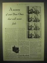 1929 Cine-Kodak Movie Camera Ad - Will Never Fade - $14.99