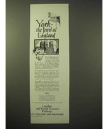 1929 London and North Eastern Railway Ad - York - $14.99