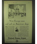 1929 United States Lines Cruise Ad - Visit Europe Now - $14.99