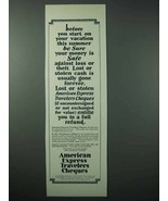 1925 American Express Travelers Cheques Ad - Vacation - $14.99