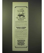1926 American Express Travelers Cheques Ad - Sky-Blue - $14.99