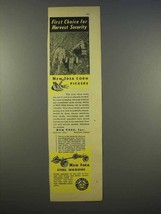 1946 New Idea Corn Pickers Ad - Harvest Security - $14.99