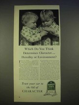 1940 Quaker State Oil Ad - Heredity or Environment - $14.99