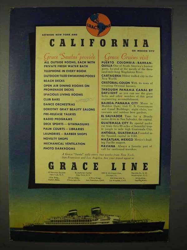 Primary image for 1937 Grace Line Cruise Ad - California
