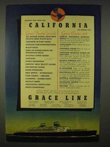 1937 Grace Line Cruise Ad - California - $14.99