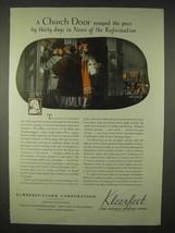 1935 Kimberly-Clark Kleerfeet Paper Ad - Church Door - $14.99