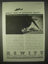 1935 Hewitt Rubber Ad - Adds to Aviation's Safety - $14.99