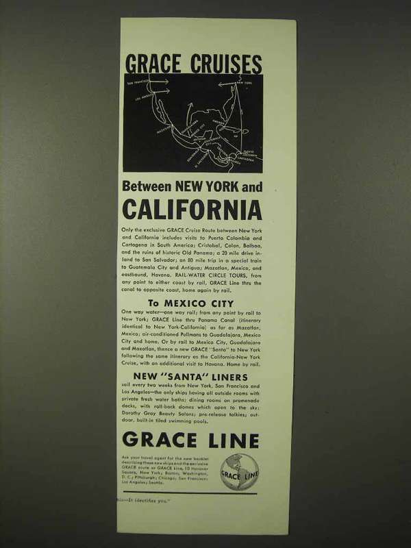 Primary image for 1935 Grace Line Cruise Ad - New York and California