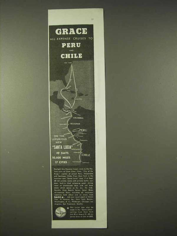Primary image for 1935 Grace Line Cruise Ad - Peru and Chile