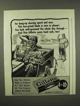 1945 Gillette Razor Blades Ad - Bang-Up Shaving Speed - $14.99