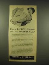 1944 Robbins & Myers Ad - Prewar Lifting Methods - $14.99