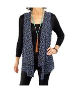 COMFY USA L Large $106 NEW semi-sheer blue open knit peplum vest hi-lo f... - $67.32
