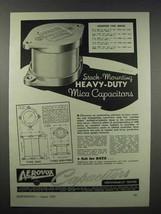 1943 Aerovox Type 1940 Mica Capacitor Ad - $14.99