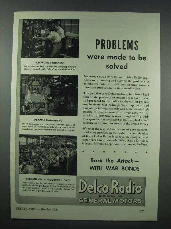 1943 Delco Radio Ad - Problems Were Made to Be Solved - $14.99