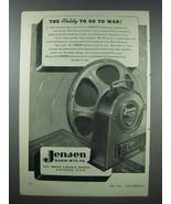 1943 Jensen Auditorium Speaker Ad - Go To War - $14.99