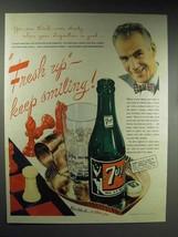 1945 7-up Soda Ad - Fresh Up Keep Smiling! - $14.99