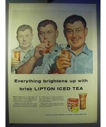1956 Lipton Tea Ad - Brightens Up With Brisk Iced Tea - $14.99