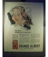1921 Prince Albert Tobacco Ad - Turning Over a New Leaf - $14.99
