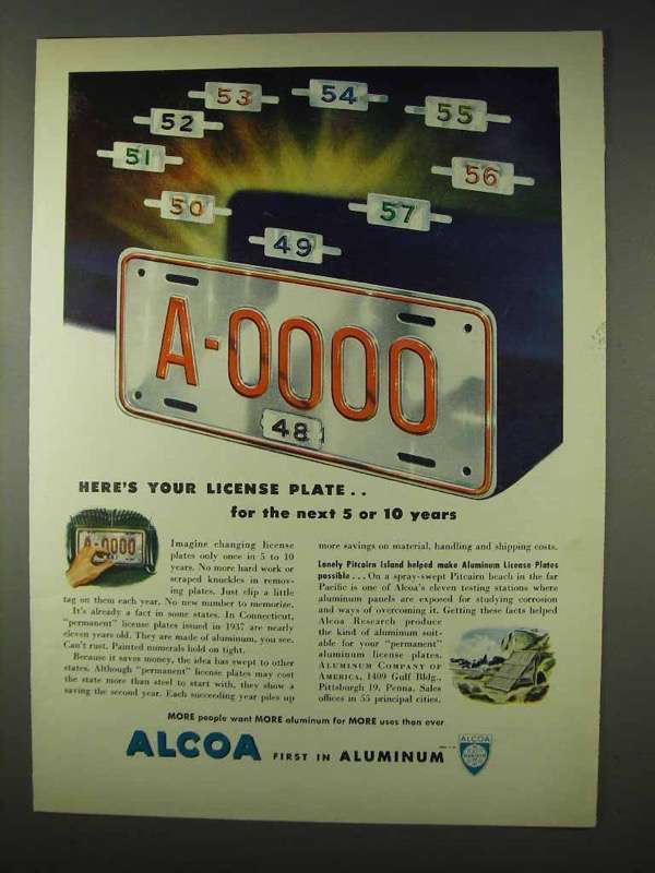 1947 Alcoa Aluminum Ad - Here's Your License and 50 similar items