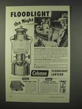 1947 Coleman Floodlight Lantern Ad - The Night - $14.99