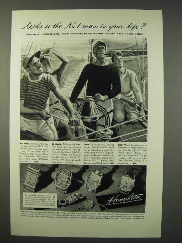 1947 Hamilton Watch Ad - Dodson, Emerson, Norman +