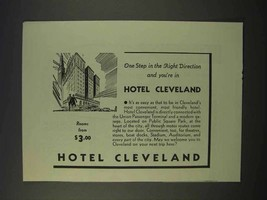 1941 Hotel Cleveland Ad - Step in The Right Direction - $14.99