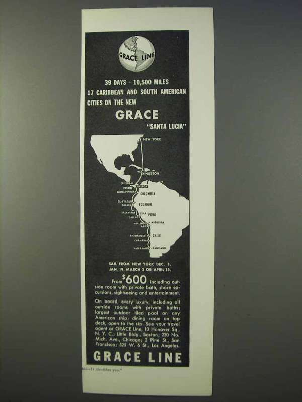 Primary image for 1934 Grace Line Cruise Ad - Santa Lucia, 10,500 Miles