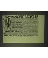 1913 Mead Cycle Ranger Bicycles Ad - $14.99