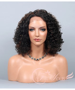 Lace Front Wig Short Corkscrew Curly Wig Brown Auburn Mix Wig for Black ... - $46.49