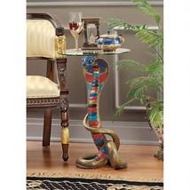 1920 Revival Style Egyptian Cobra Exotic Glass Top Side Occasional Table - $235.62
