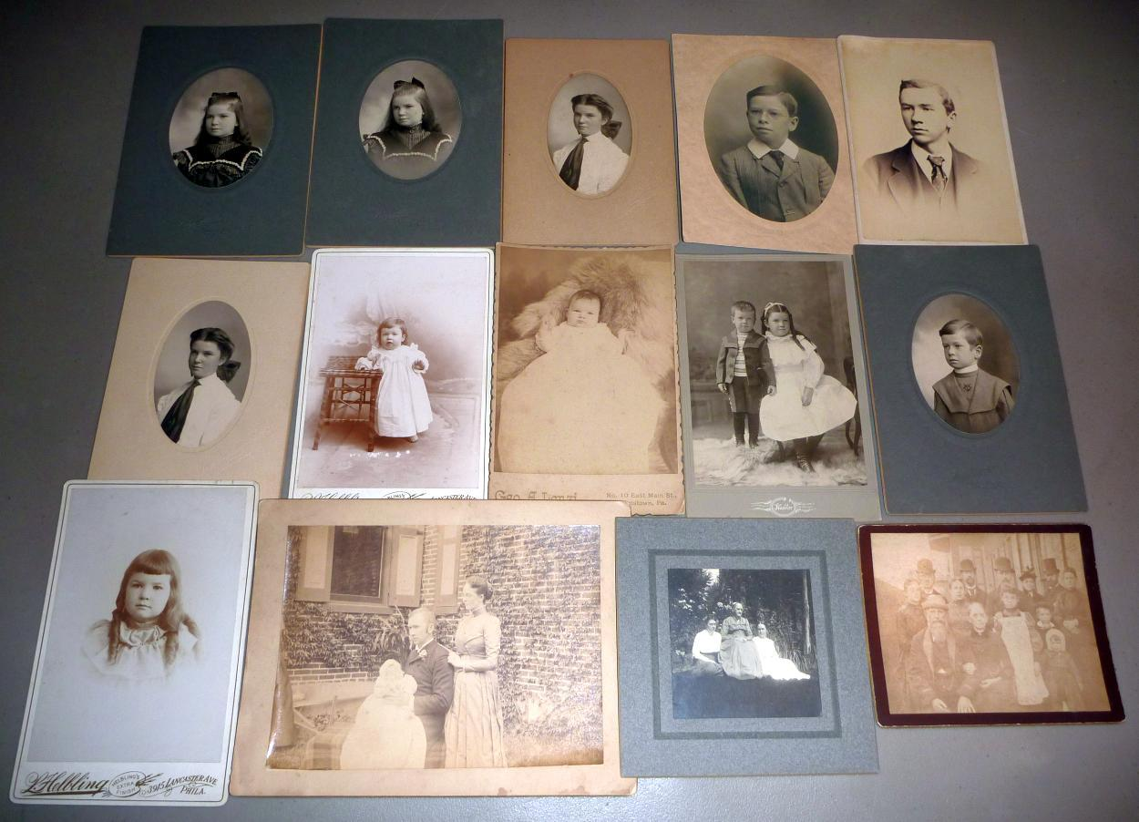 Samuel L. Smedley Family (14) Antique Cabinet Photos -Philadelphia, PA