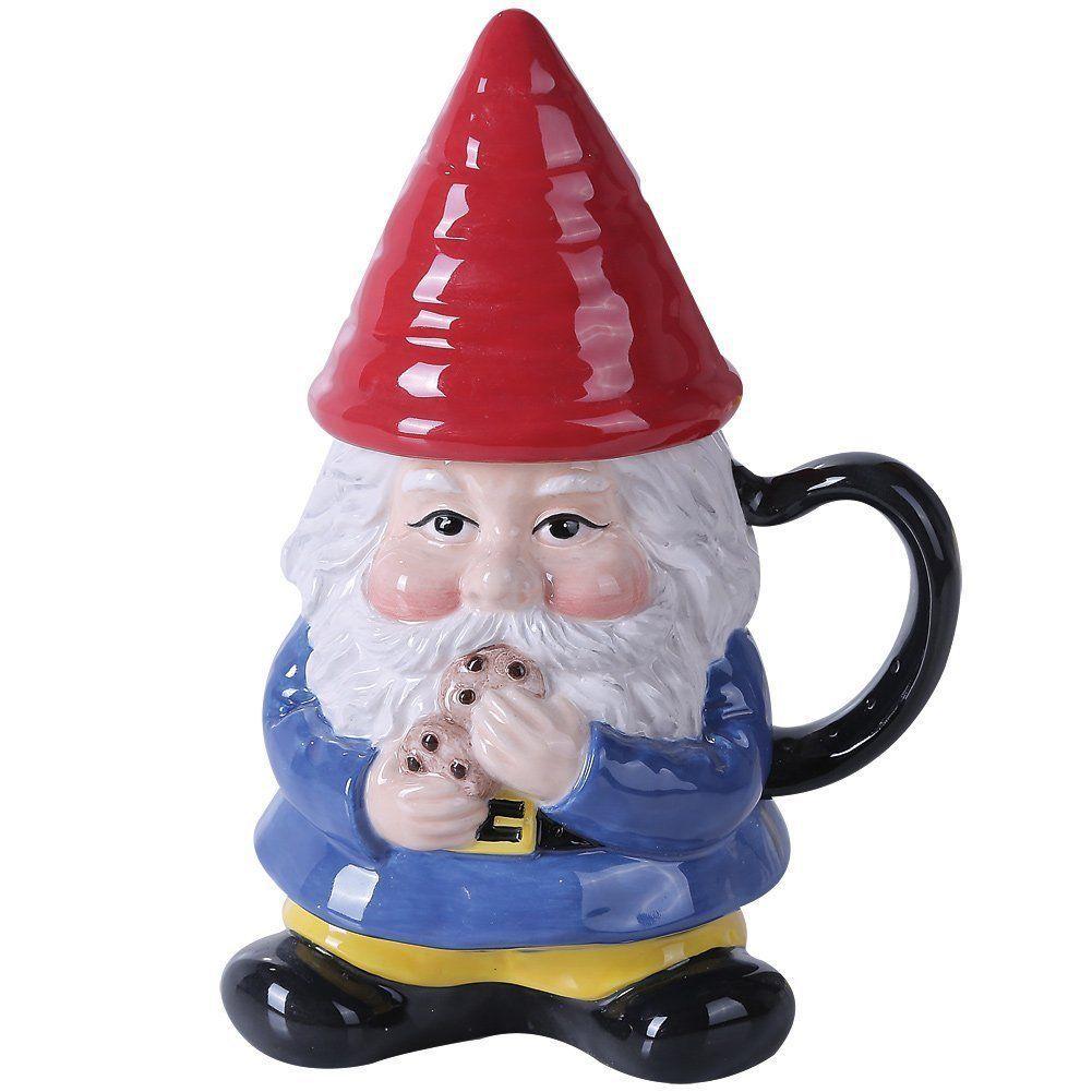 Ceramic Garden Gnome Lidded Coffee Tea Mug Protector Cookie
