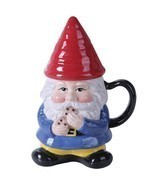 Ceramic Garden Gnome Lidded Coffee Tea Mug Prot... - $19.79