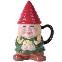 Ceramic Garden Sweet Lady Gnome Lidded Coffee Tea Mug Protector Flowers - £12.15 GBP