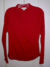 Liz Claiborne Ladies Ls Red Knit Pullover TOP-S-NWT-HIGH BACK/LOW V-$34-NWT-NICE - $9.99