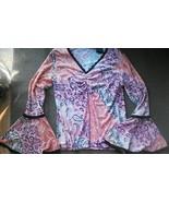 Hippie Shirt Wide Sleeve V neck Impressions Lif... - $14.64