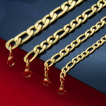 "Mens 30"" Stainless Steel 6mm-12mm 24K Gold Plated Figaro Link Chain Neck... - $22.72+"