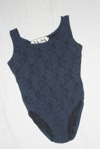 Vintage Sheer NAVY Top Mesh Lace Bodysuit Romper Snap Teddy Size S Body ... - $15.84