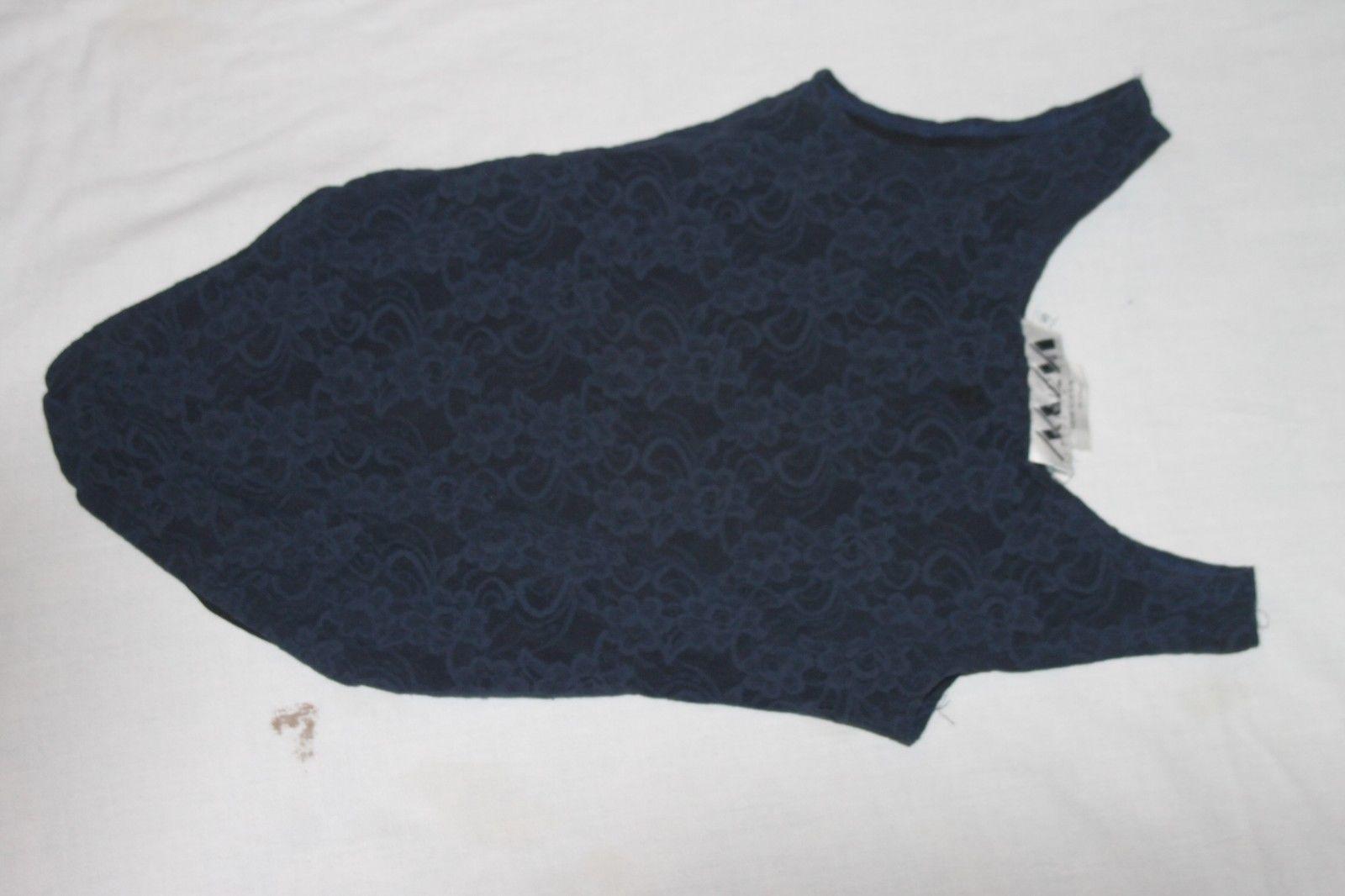 Vintage Sheer NAVY Top Mesh Lace Bodysuit Romper Snap Teddy Size S Body Suit