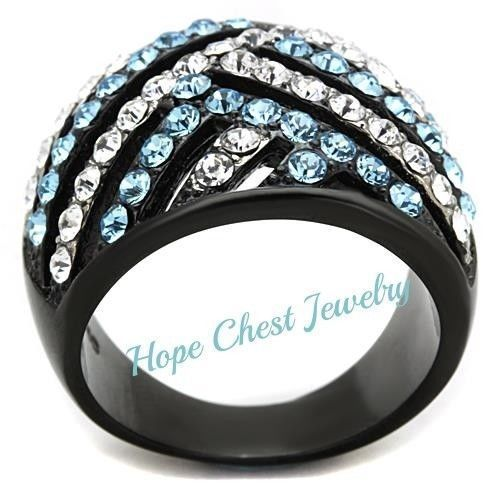 HCJ WOMEN'S BLACK STAINLESS STEEL AQUAMARINE & WHITE CRYSTAL DOME RING SIZE 5