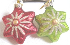 2  Glass Star Retro Christmas Ornaments Red Green Vintage Style Bethany ... - $13.81