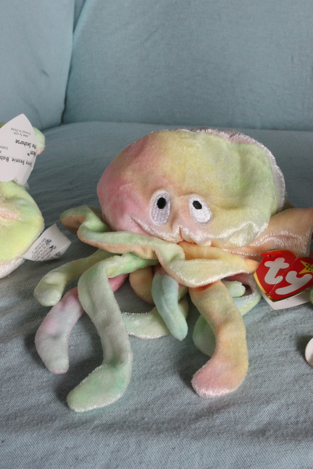 Tie dye beanie babies sea animal set seahorse octopus for Fish beanie baby
