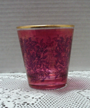 Vintage Burgundy Red Stained Glass Votive Candle Holder ITALY Leaves Vines - $8.50