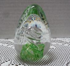 Vintage Art Glass Blown Glass Green Swirl Egg Shaped Paper Weight - $11.50