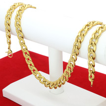 "Mens  30"" Stainless Steel 10mm - 12mm 24K Gold Plated Cuban Link Chain N... - $29.65+"