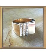 14K Yellow GOLD Men's 21 DIAMOND RING (.57ctw) Engravable Top Surface - $985.00