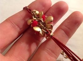 "NEW Geranium Gold Toned Bracelet Flowers Red Stones Multi Strand NWT 8"" image 3"