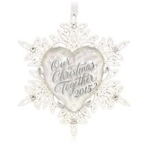 Our Christmas Together 2015 Hallmark Ornament Snowflake Glass Metal Glit... - $12.85
