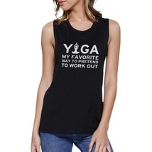 Yoga Pretend To Work Out Muscle Tee Cute Yoga Work Out Tank Top - $14.99